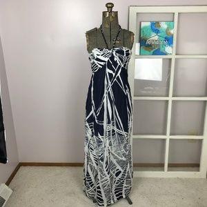 Loft Petite Blue & White Pattern Maxi Dress